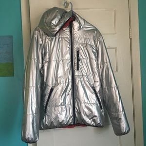Supreme reversible hooded puffy jacket silver red